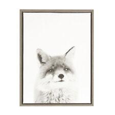 Sylvie Fox Black and White Portrait Gray Framed Canvas Wall Art by Simon Te Tai