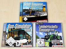 3 PC SPIELE SAMMLUNG SIMULATOR - LANDWIRTSCHAFTS 2009 - BUS 2008 - SCHIFF 2006