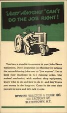 John Deere Mosher Tractor & Equip Co Watertown NY Adv Postal Card