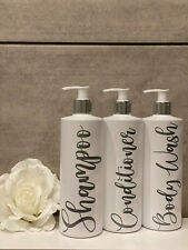White Bathroom Bottles. Shampoo, Conditioner, Body Wash Pump Bottles Mrs Hinch