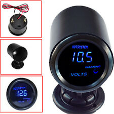 "Black 2"" 52mm Blue Digital LED Elec Volt Gauge Meter+Pod For Car HOTSYSTEM"