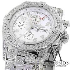Breitling Super Avenger Bianco A13370 15ct Completamente Covered Diamante