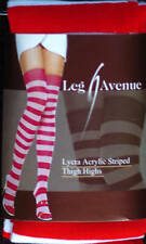 Leg Avenue Fashion Lycra Acrylic Red & White Striped Mid-Thigh High's One Size