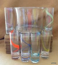 Set of 6 Liqueur Glasses and Ice Bucket Swirls of Colors