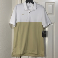 Nike Colorblock Dri-Fit Men's Polo Shirt White Gold Tan AO5439 120