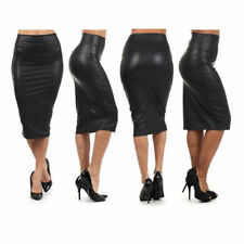 Knee Length Faux Leather No Pattern Regular Skirts for Women