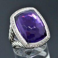 David Yurman 925 Sterling Silver 20X15mm Amethyst Albion Diamond Ring Size 5.75