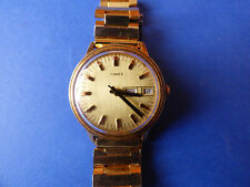 Vintage Mens Timex Calendar Wind Up  Gold Tone Watch Tested!