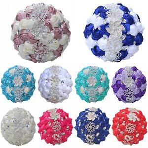 Luxury Rhinestone Crystal Pearls Brooch Satin Bride Wedding Bouquet Decor Gift