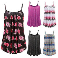 Womens Summer Strappy Vest Sleeveless Shirt Blouse Casual Tank Cami Tops T-Shirt