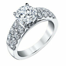 Solitaire 14K White Gold Engagement Ring 1.90 Ct Round Cut moissanite Diamond