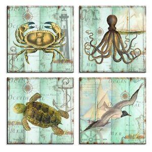 Bilder auf Leinwand 4x 30x30cm Meerestiere