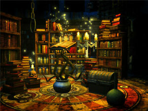 Halloween Witch Magic Laboratory Library Backdrop Background Studio Props 9x6ft