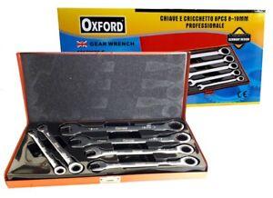 Set chiavi combinate a cricchetto 8 10 13 14 17 19 mm cromo vanadium in valigia