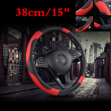 Universal 38cm 15inch Car Steering Wheel Cover Black & Red Stitching PU Leather
