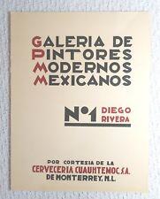 Galeria de Modernos Mexicanos - No. 1 - Diego Rivera - Carta Blanca Beer 1940's