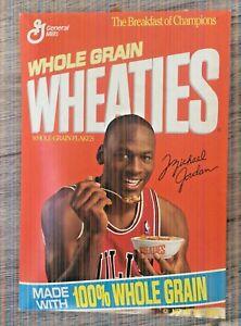 1991 General Mills MICHAEL JORDAN 12 oz. FULL Cereal Box Jordan Eating Wheaties