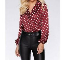 Quiz Body Berry  and Cream Satin with Polka Dots Long Sleeve 10