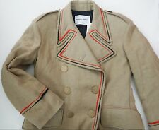 $2510 New SONIA RYKIEL Linen Double-Breasted Embroidered MILITARY Coat 38/L