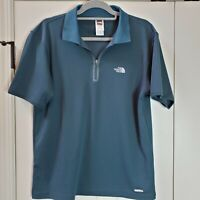 The North Face Mens Polo Zip Up Vapor Wick Green Short Sleeves Golf Shirt Size M