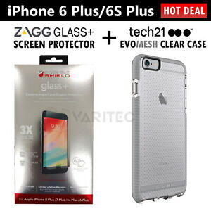 Zagg Glass Screen Protector + Tech21 Gel Case Cover for iPhone 6 Plus 6S Plus