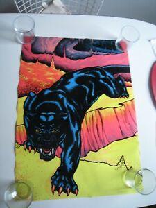 Vintage 1970s Blacklight Panther Poster - Pro Arts, Flocked Velvet
