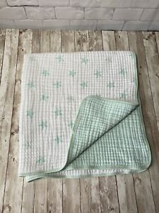 Aden+Anais Thick Muslin Stroller Dream Baby Blanket Aqua Mint Green Stars Stripe