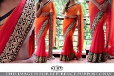 BEAUTIFUL BOLLYWOOD  DESIGNER PARTY WEAR DOUBLE COLOR GEORGETTE SAREE