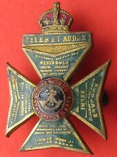 THE  KING'S  ROYAL  RIFLE  CORPS <> ANTIQUE <> BRASS & ENAMEL LAPEL BADGE