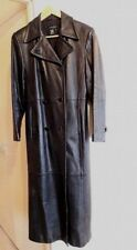 Women Long Black Full Length Fitted Leather Episode Trench Coat  Size S