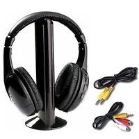 BLACK  5 in 1 WIRELESS CORDLESS RF HEADPHONES HEADSET W/ MIC FOR PC TV MP3 SKYPE