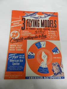 VINTAGE 1944 3 FLYING MODELS OF FAMOUS ALLIED FIGHTING PLANES- WORLD WAR II