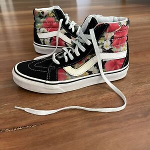 Vans Woman's Floral Pattern High-Top Sneakers Size US 6.5 Lace Up Skate Shoes