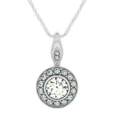 Round Shape Diamond Ladies Pendant 1.45 Carat GIA Certified GIA 18k white Gold