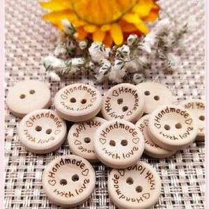 New 25mm Natural Color Wooden Buttons Handmade Letter Wedding Décor Accessories