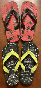 Lot of 2~Old Navy black/red and black/yellow Flip Flops Boys Size 12 Sandals EUC