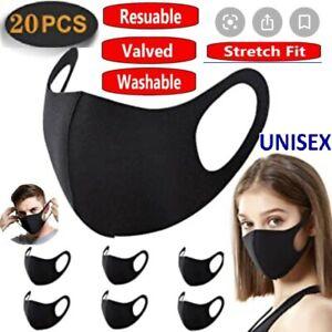 20 X Face Mask Protective Covering Washable Reusable Black Adult Unisex UK 20X