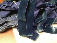 "14 Yards 1 1/4"" Blue Vintage FRENCH VELVET Ribbon Silk Rayon Made in France"