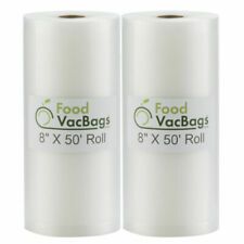 "FoodVacBags 8""x50' Clear Vacuum Sealer Roll - Pack of 2 (400850_2)"