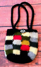 VTG Checkerboard Felted Wool BoHo Mod Purse Tote hand Bag knit plaid sachel 60s
