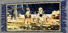 "Holland Velvet Tapestry Rug - Dutch Farm People Windmill 20.5"" x 38"" Vintage"