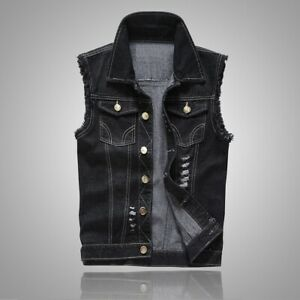 Men Ripped Fashion Thick Denim Sleeveless Vest Destroyed Biker Motorcycle Jacket