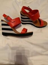 NEW Kate Spade Nina Stripe Wedge Sandal Tomato Red NWOB Black/white 8B