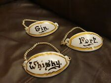 More details for vintage toni raymond pottery decanter 1950's gin whisky & port tags
