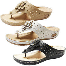 WOMENS LOW HEEL LIGHT COMFORT TOE POST THONG FLIP FLOPS SANDALS SIZE SUMMER NEW