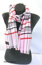 ECHARPE tissage en tartan sur fond   ROSE made in france  accessoire de Mode