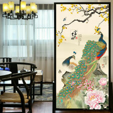 3D Peacock Static Cling Window Film Frosted Opaque Glass Sticker Home Adornment