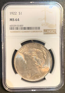 1922 - Peace Silver Dollar, NGC, MS64