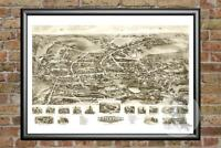 Old Map of Watertown, CT from 1918 - Vintage Connecticut Art, Historic Decor