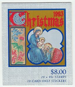 1993 AUSTRALIA STAMP BOOKLET 'CHRISTMAS 1993' - BOOKLET PANE of 20 x 40c MNH
